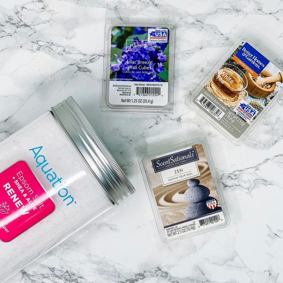 5 Simple Steps For An At Home Spa Night -Walmart Aquation Epsom Salt Renew White Tea and Juniper, Lilac Breeze wax melts, White Tea Wax Melts, Zen Wax melts