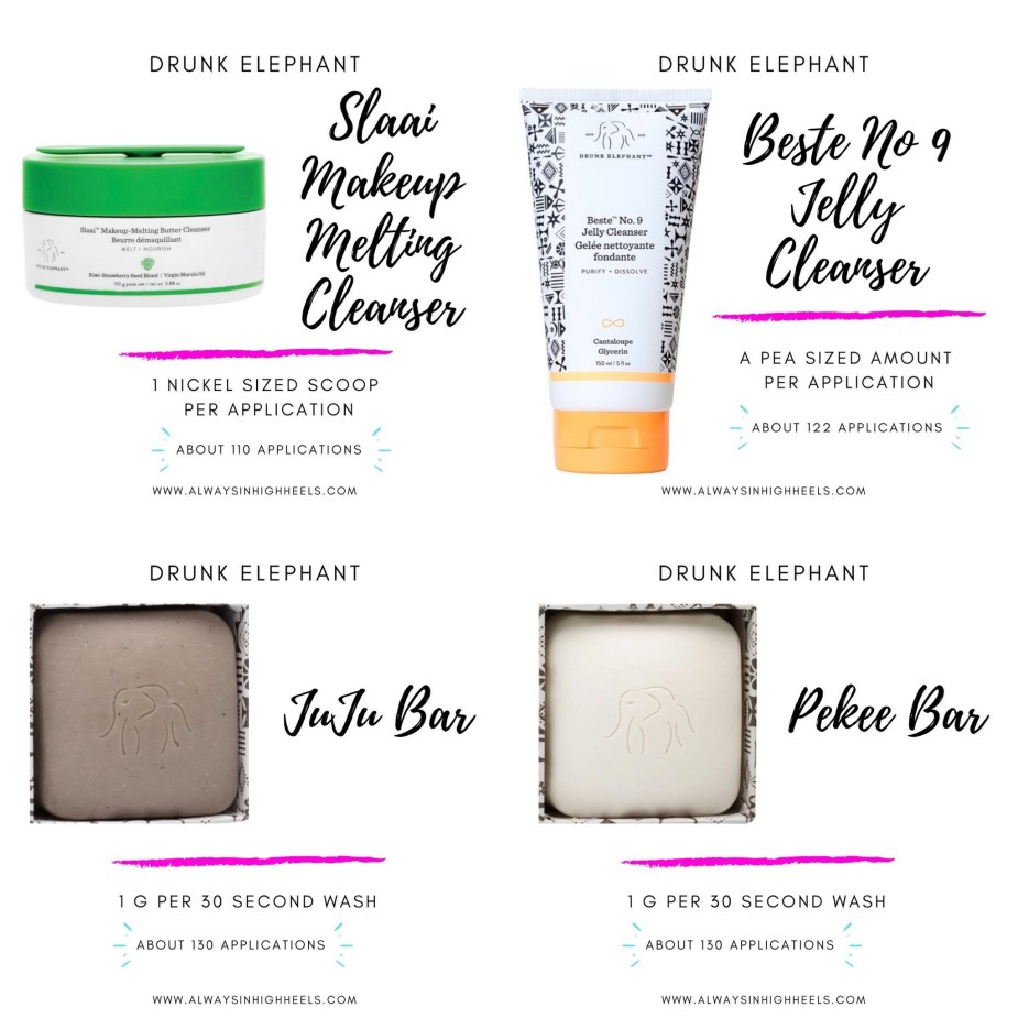 How long do Drunk Elephant products last? How long do Drunk Elephant cleansers last? Beste No 9 Jelly Cleanser, Slaai Makeup Melting Cleanser, Juju Bar, Pekee Bar