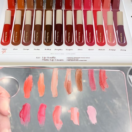 Rare Beauty by Selena Gomez lip souffle matte cream liquid lipstick display and swatches