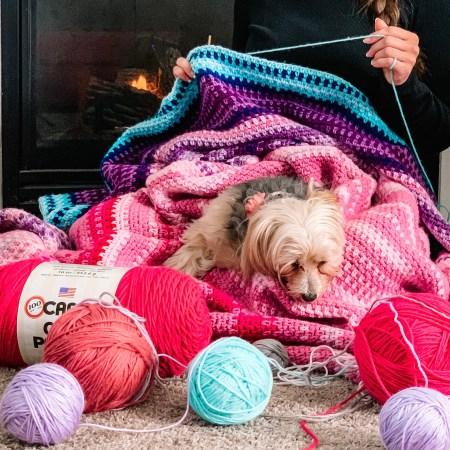 Temperature Blanket - Pink, Purple, Blue.
