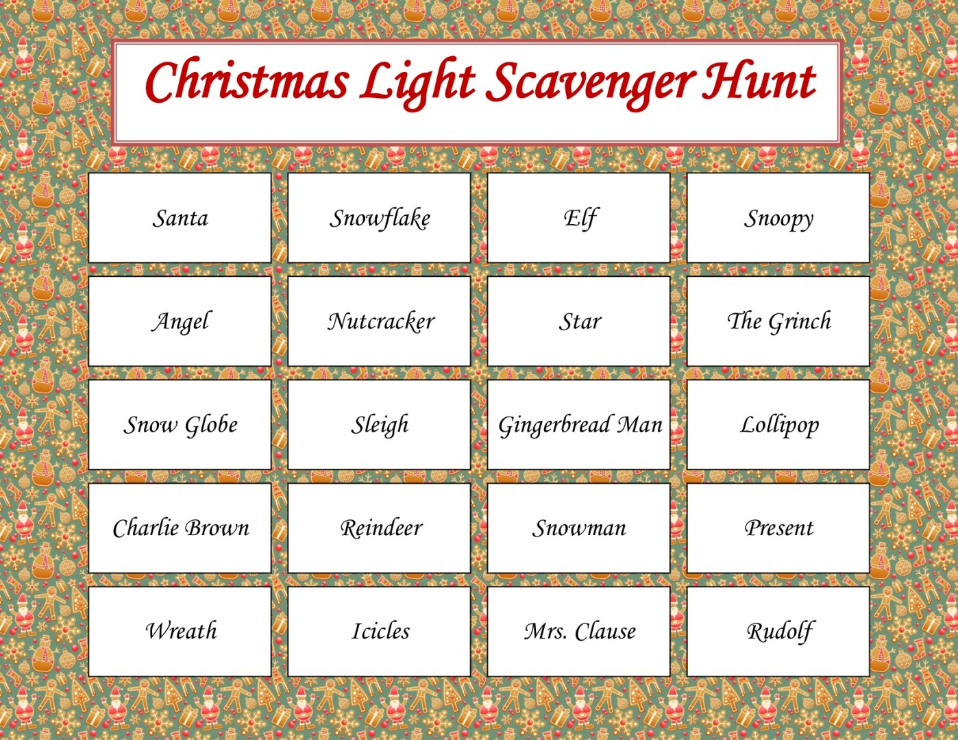 Free Printable Christmas Light Scavenger Hunt | AlwaysMovingMommy.com
