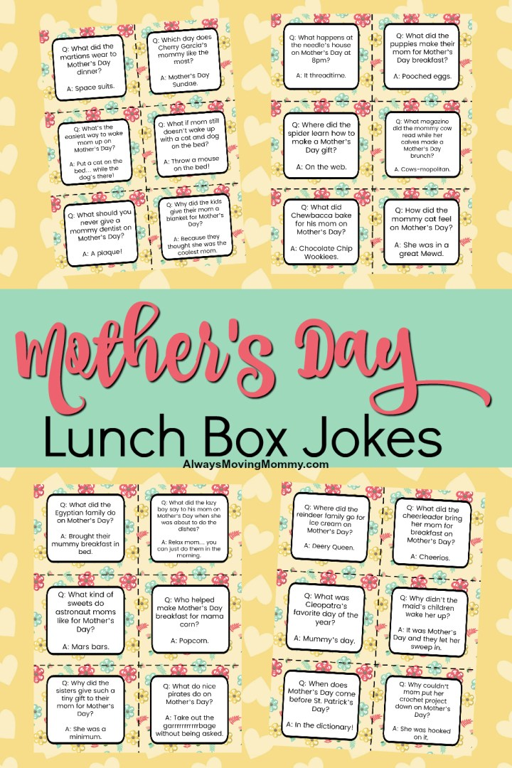 Free Printable Lunch Box Jokes for Mother's Day