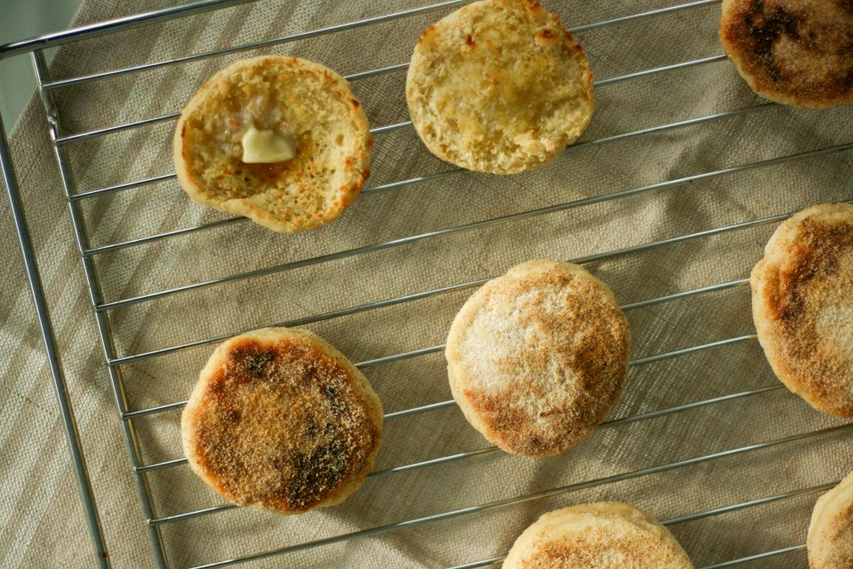 Homemade english muffins toasted to perfection