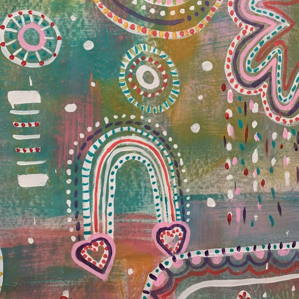 Hand Painted Fabric - Happy