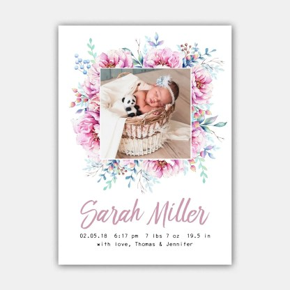 pink peonies birth announcement template
