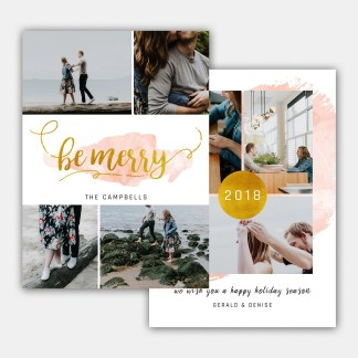 Gold Watercolor Christmas Card Template