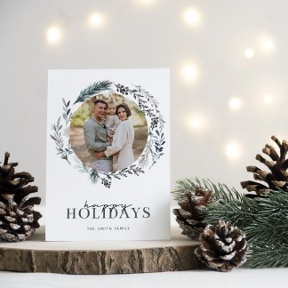 Floral Holidays Christmas Card Template
