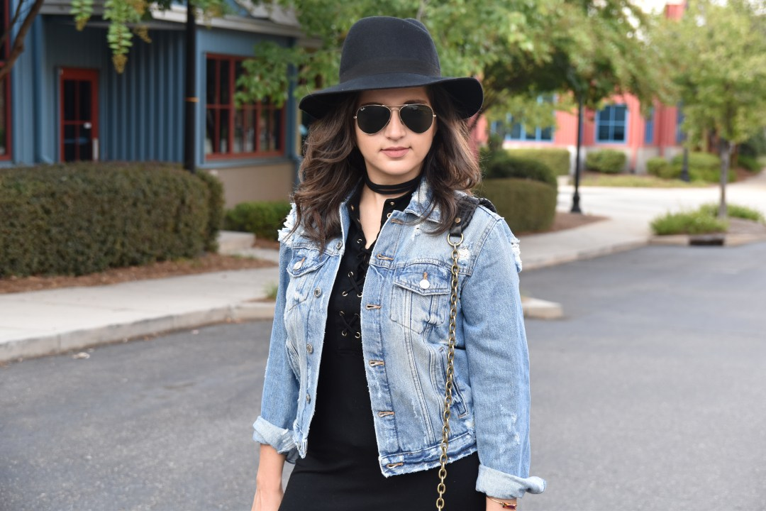 Dania outfit post with black dress and distressed Zara jean jacket