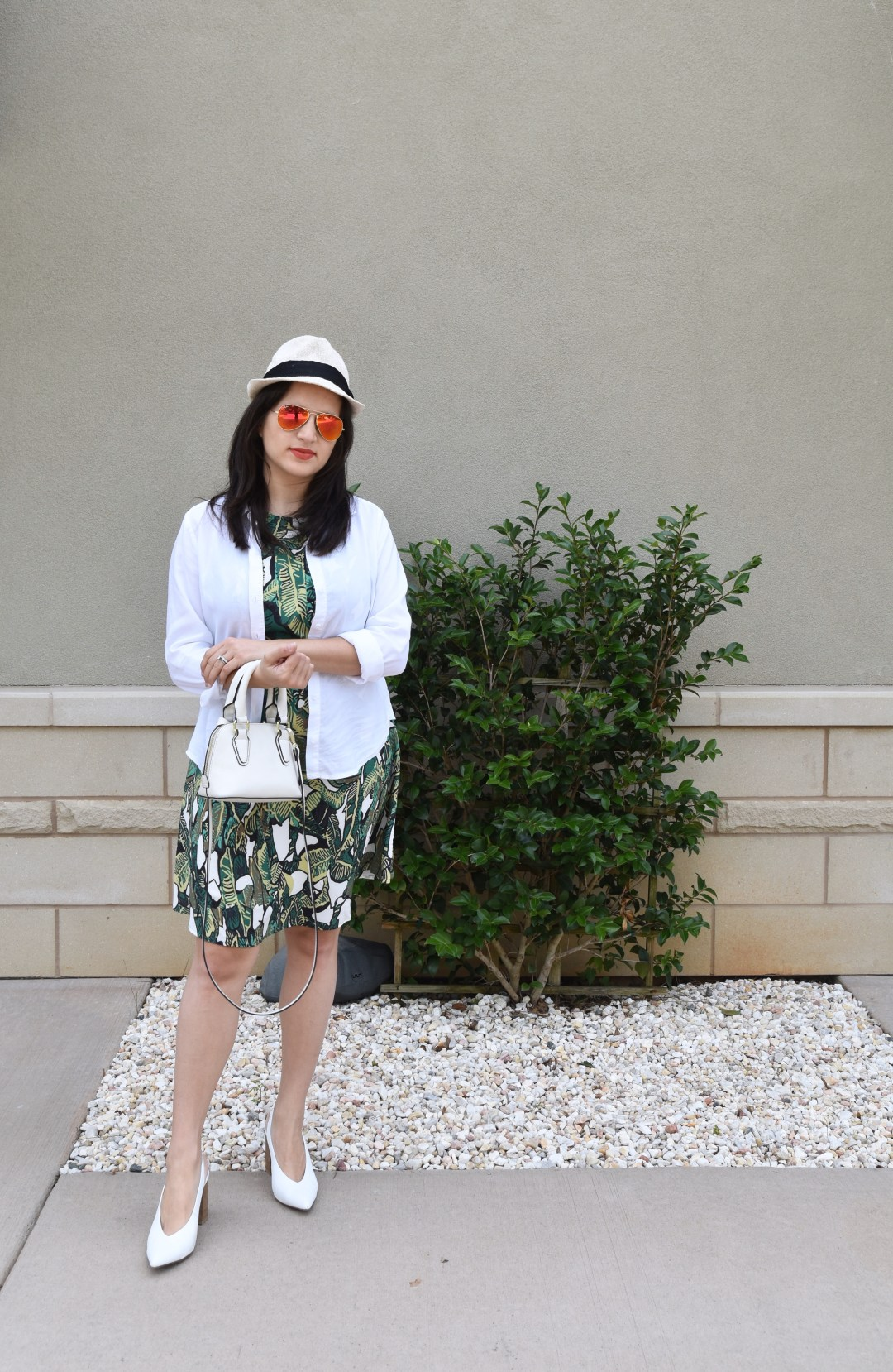 Shein dress, anthropologie jacket, rayban, fedora