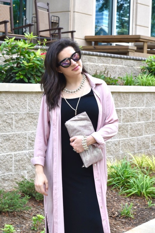 Black Old Navy dress with blush pink forever 21 duster with free people sunglasses and bcbg max azria pink and silver clutch