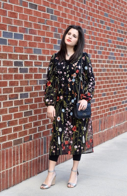 SheIn embroidered dress with Coach wedges