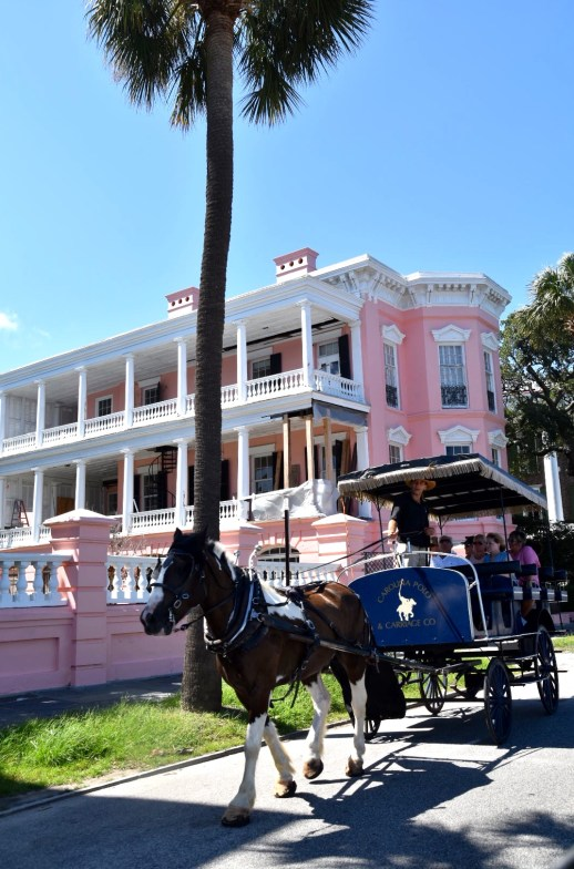 Pink house with carriage Charleston SC