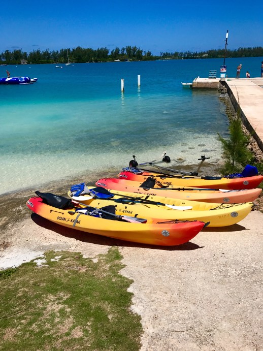 A2F Bermuda Babymoon canoes at Grotto Bay