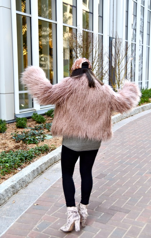 Dania dancing Vince Camuto pink faux fur and jessica simpson boots in blush