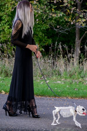 Walking the Dawg. Photo Credit: Mechelle Avey. Pastel Goth Morticia and Pallicanis. Alwaysuttori.com