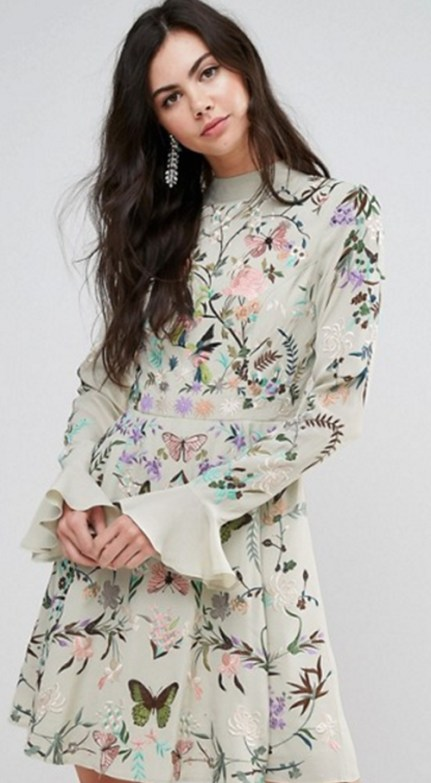 Embroidered, fluted sleeve Mini-skirt, Asos. Wedding Guest Fashion Guide for the 21st Century Girl. Alwaysuttori.com