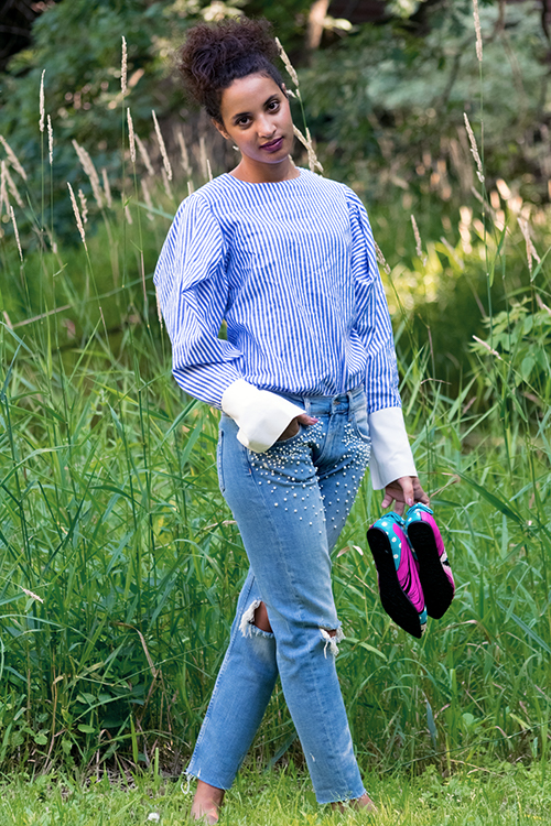 Pearl Jeans, Summer 2017 Fashion Trend, L4, P2. Photo Credit: Mechelle Avey. Fresh White and Blue Summer Style, L