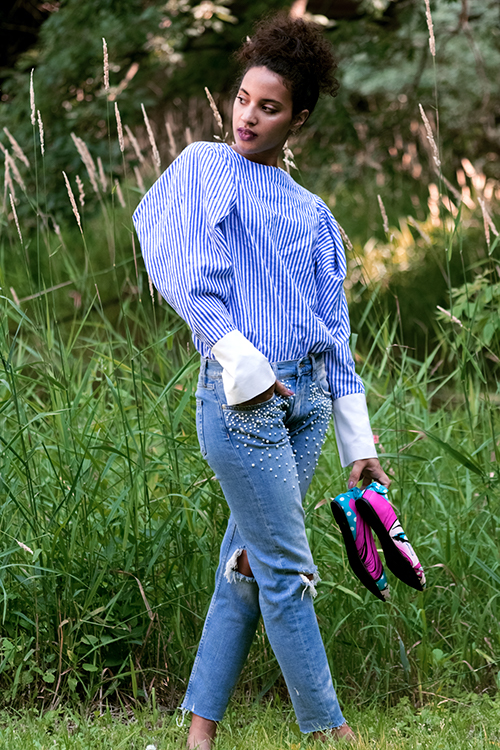 Pearl Jeans, Summer 2017 Fashion Trend, L4, P3. Photo Credit: Mechelle Avey. Fresh White and Blue Summer Style. Alwaysuttori.com