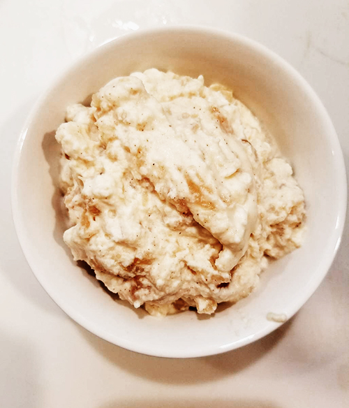 Apple Crema. Photo Credit: Always Uttori. Polenta Pancakes with Apple Crema. Alwaysuttori.com