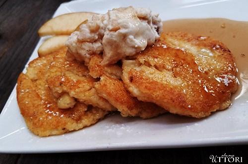 Polenta Pancakes Feature. Photo Credit: Always Uttori. Polenta Pancakes with Apple Crema. Alwaysuttori.com