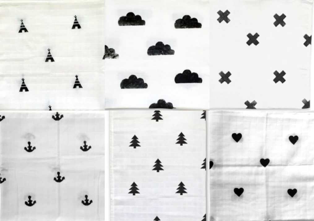 zwart wit stempels hydrofiele doeken