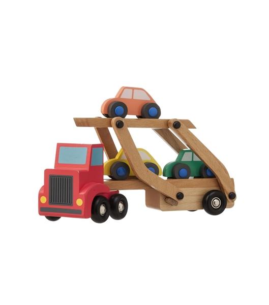 houten-vrachtwagen-autos