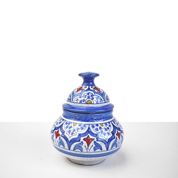 Bombonera cerámica azul
