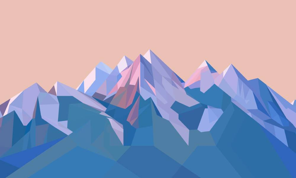 graphic of blue and purple mountains