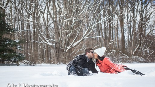 Snowy Engagements in the Park | Erica & Jake