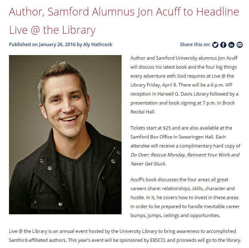 Jon Acuff article for Samford University News