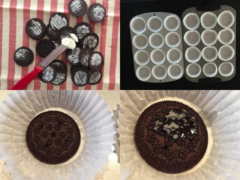 cheesecake crust using whole cookies-wafers-cookie-halves-half-oreo-chocolate-mini-cheesecakes