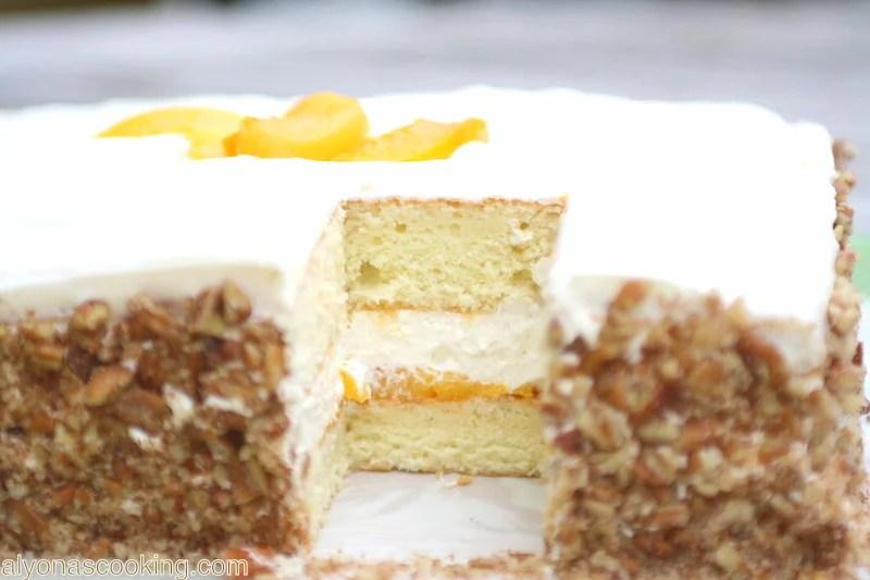 peach-fruit-cake-peaches-dessert-Russian cake-Ukrainian cake-delicate frosting-canned-peaches-cake-sponge cake-layers-rectangle cake-square cake-peach cake