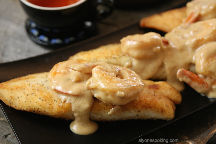 tilapia loins in creamy wine sauce-shrimp-wine-sauce-heavy cream-seafood recipe-easy