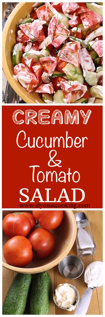 My go-to version of the classic Ukrainian creamy cucumber and tomato salad.
