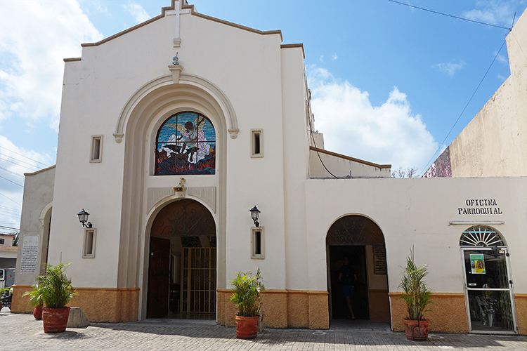 San Miguel Downtown  Church  Cozumel Mexico