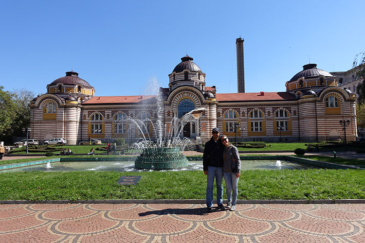 Us near the Central Baths in Sofia