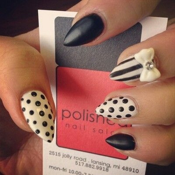 Black-And-White-Almond-Nail-With-Bow-Polka-Dots-And-Strips Beautiful Almond Nail Designs