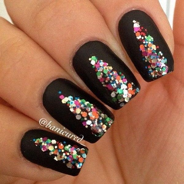 Black-Background-Nails-With-Colorful-Sequins Elegant Black Nail Art Designs