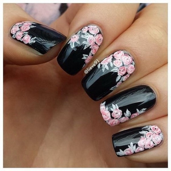 Black-Nails-With-Pink-Flowers-Nail-Art Elegant Black Nail Art Designs