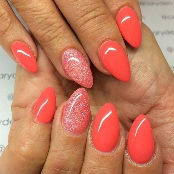 Coral-Glitter-Almond-Shaped-Nail-Art-Design Beautiful Almond Nail Designs