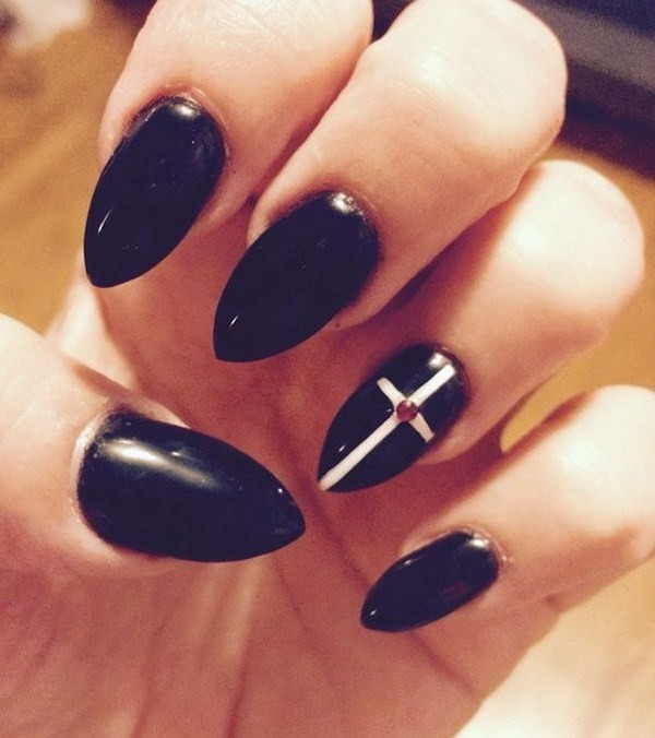 Goth-Black-Cross-Almond-Nails Beautiful Almond Nail Designs