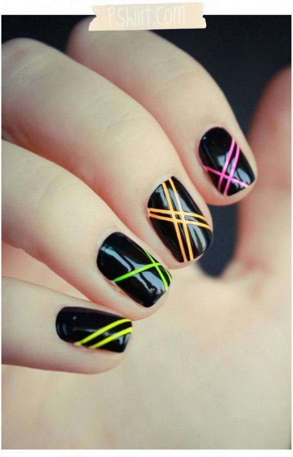 Neon-Stripes-On-Black-Base-Nails Elegant Black Nail Art Designs