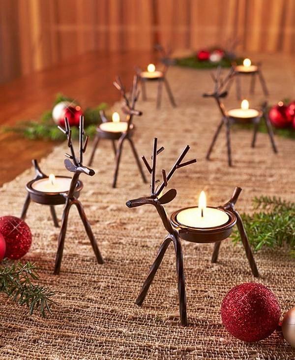 Reindeer-Tea-Light-Holders Elegant Christmas Decorating Ideas