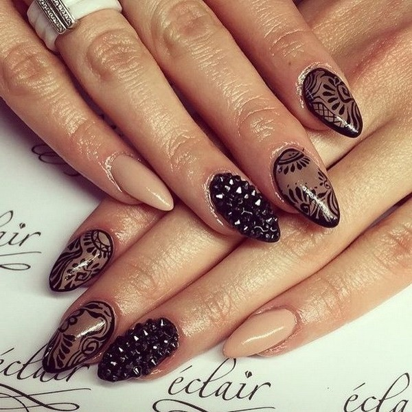 Sheer-Black-And-Nude-Almond-Nails Beautiful Almond Nail Designs