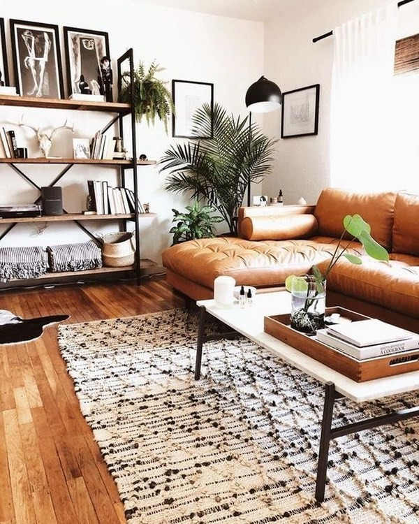 Chic-industrial-bohemian-living-room-design Chic Bohemian Interior Design Ideas