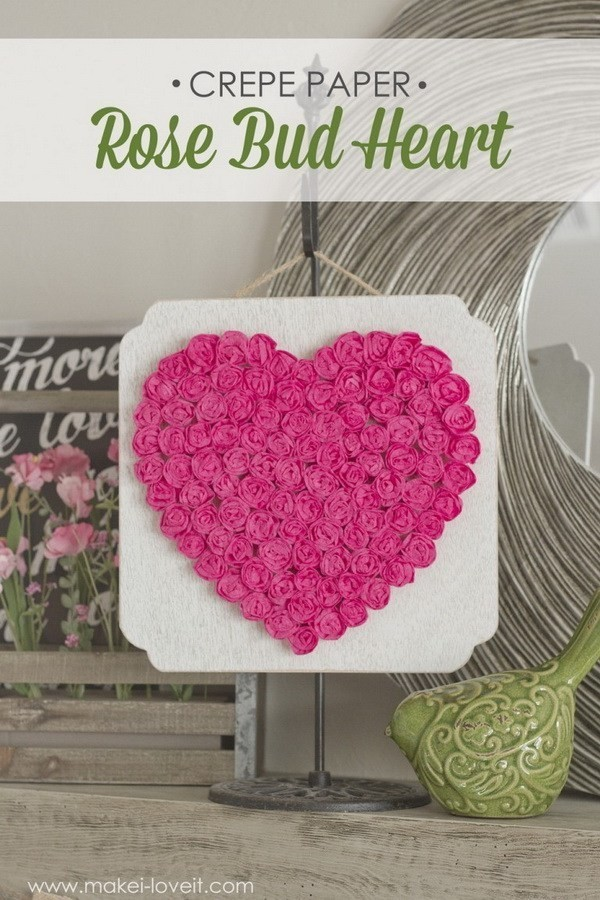 DIY-Crepe-Paper-Rose-Heart Sweet DIY Valentine's Day Decoration Ideas