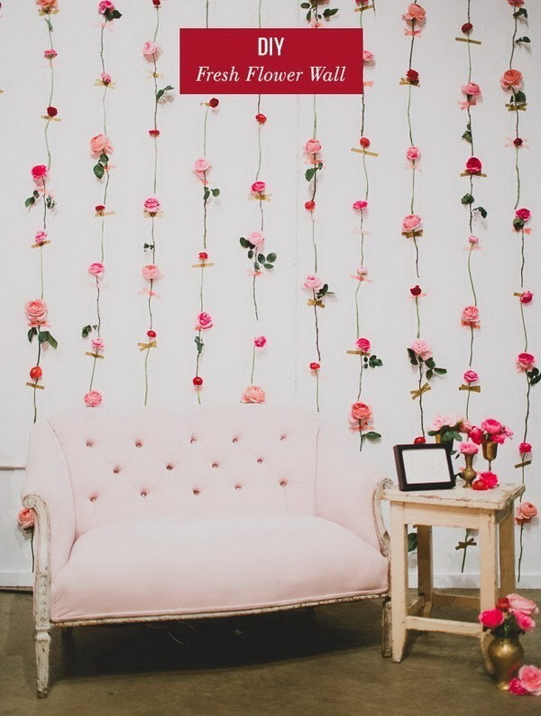 DIY-Fresh-Flower-Wall Sweet DIY Valentine's Day Decoration Ideas