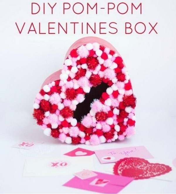 DIY-Pom-Pom-Valentines-Box Sweet DIY Valentine's Day Decoration Ideas