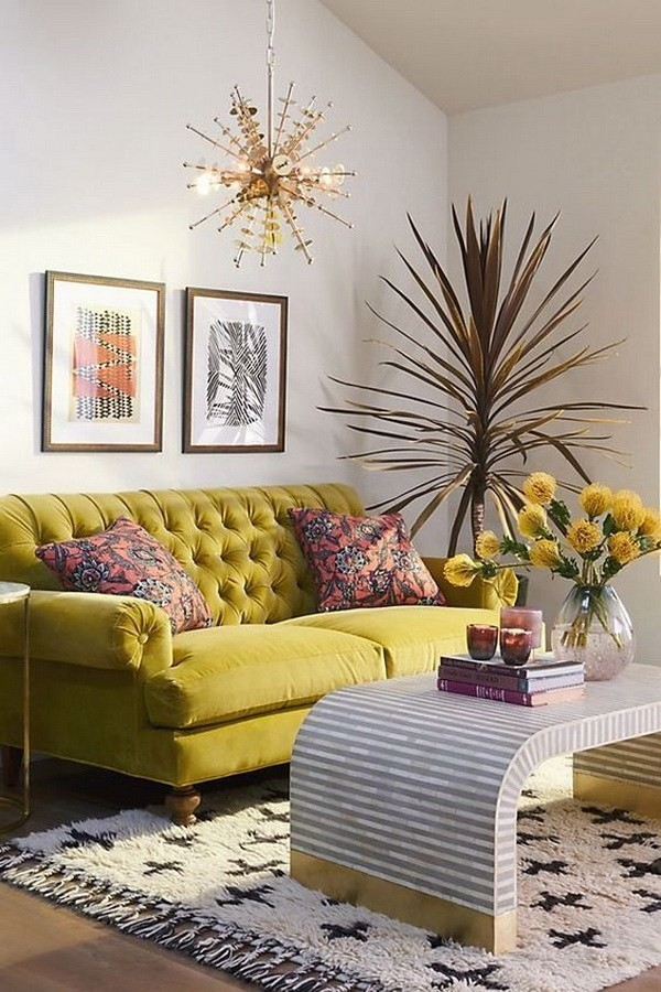 Guest-Room-With-Geometric-Yellow-Wallpaper-6 Decorating With Yellow: How To Brighten Your Space With Yellow