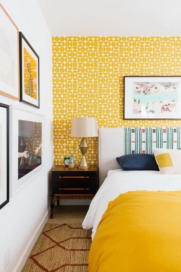 Guest-Room-With-Geometric-Yellow-Wallpaper Decorating With Yellow: How To Brighten Your Space With Yellow